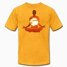 Man meditating yoga in the evening sun 01 T-Shirts