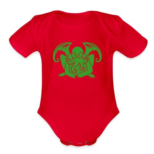 Cthulhu in Green - Organic Short Sleeve Baby Bodysuit