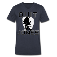 T-Shirts ~ Men's V-Neck T-Shirt by Canvas ~ Quit Jones VNECK Black Text