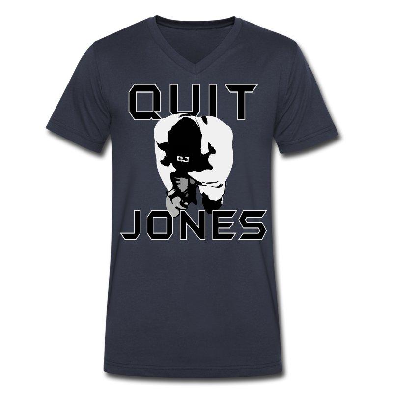 Quit Jones VNECK Black Text - Men's V-Neck T-Shirt by Canvas
