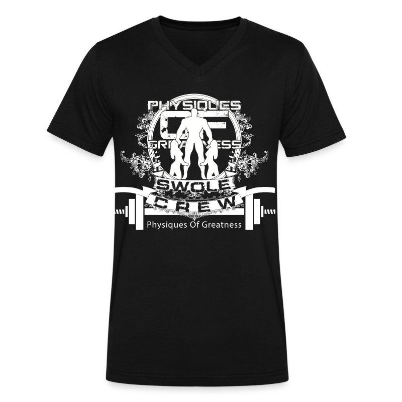 Swole Crew V1 VECK White - Men's V-Neck T-Shirt by Canvas
