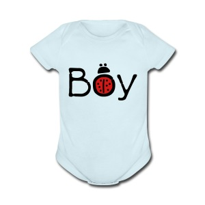 Boy ladybug Baby short sleeve one piece - Short Sleeve Baby Bodysuit