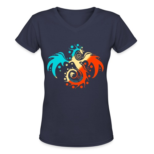 Tri-Color Talia Vee Tee - Women's V-Neck T-Shirt