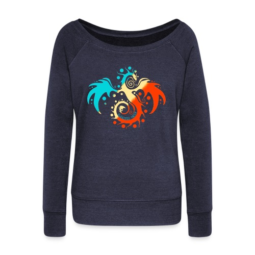 Tri-Color Talia Sweatshirt - Women's Wideneck Sweatshirt