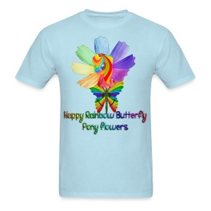 Happy Rainbow Butterfly Pony Flowers (Men) - Men's T-Shirt