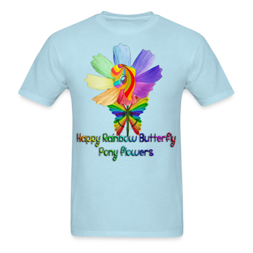 Happy Rainbow Butterfly Pony Flowers (Men) - Men's T-Shirt