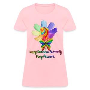 Happy Rainbow Butterfly Pony Flowers (Women) - Women's T-Shirt