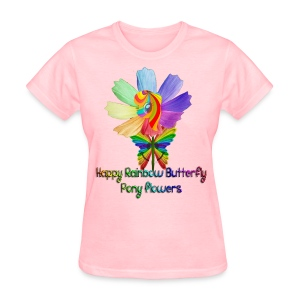 Happy Rainbow Butterfly Pony Flowers (Women) - Women's T-Shirt