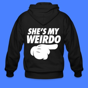 She's My Weirdo (Pointing Right) Zip Hoodies & Jackets - Men's Zip Hoodie