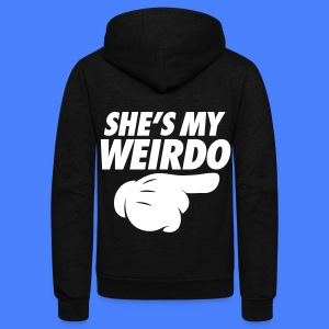 She's My Weirdo (Pointing Right) Zip Hoodies & Jackets - Unisex Fleece Zip Hoodie by American Apparel