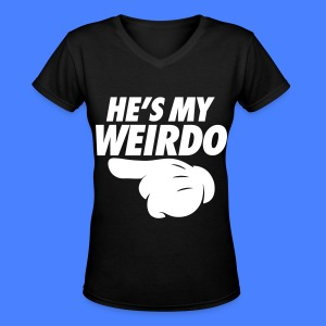 He's My Weirdo (Pointing Left) Women's T-Shirts - Women's V-Neck T-Shirt