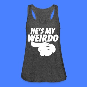 He's My Weirdo (Pointing Left) Tanks - Women's Flowy Tank Top by Bella