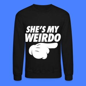 She's My Weirdo (Pointing Right) Long Sleeve Shirts - Crewneck Sweatshirt