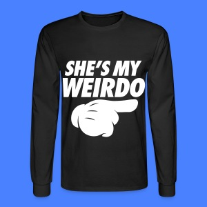 She's My Weirdo (Pointing Right) Long Sleeve Shirts - Men's Long Sleeve T-Shirt