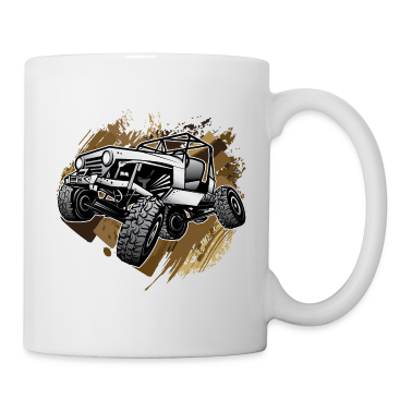 Off-Road Mudding White Jeep Bottles & Mugs