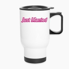 Just Married! cute recently married couples shirt Bottles & Mugs