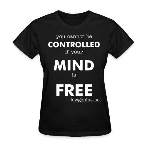 Free Mind - (women's basic white text) - Women's T-Shirt