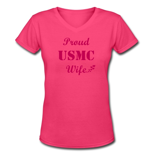 Women's V-Neck T-Shirt - Are you a USMC wife? Wear this tshirt with pride!