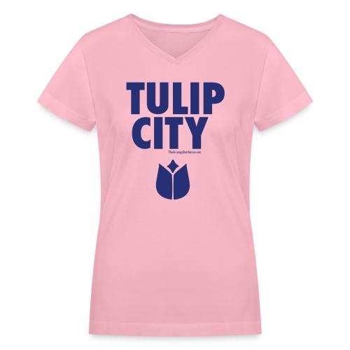 Tulip City (blue) - Women's V-Neck T-Shirt