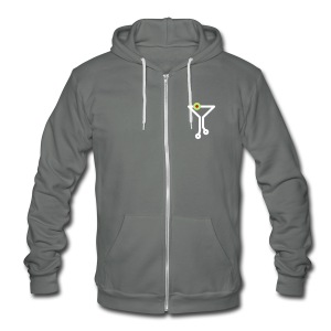 Tech Cocktail Grey Hoodie - Unisex Fleece Zip Hoodie by American Apparel