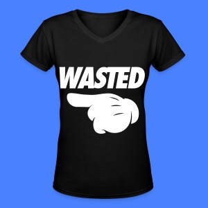 Wasted Pointing Left Women's T-Shirts - Women's V-Neck T-Shirt
