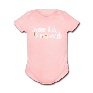 Stroopwafels (with white lettering for darker shirts) - Short Sleeve Baby Bodysuit