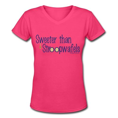 Stroopwafels (with blue lettering for lighter shirts) - Women's V-Neck T-Shirt