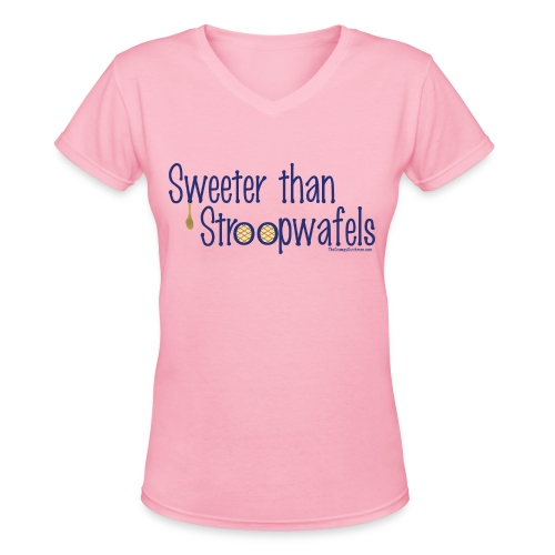 Stroopwafels (with blue lettering for lighter shirts) - Women's V-Neck T-Shirt