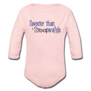 Stroopwafels (with blue lettering for lighter shirts) - Long Sleeve Baby Bodysuit