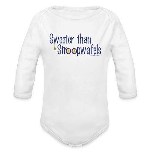 Stroopwafels (with blue lettering for lighter shirts) - Organic Long Sleeve Baby Bodysuit