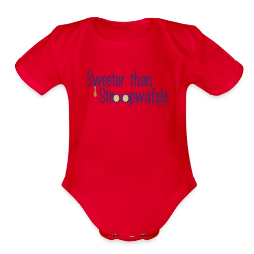 Stroopwafels (with blue lettering for lighter shirts) - Organic Short Sleeve Baby Bodysuit