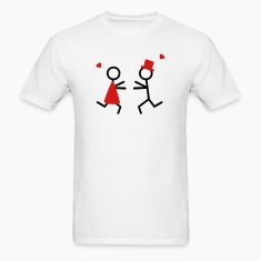 partner shirt couple runs to each other T-Shirts