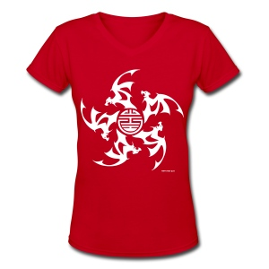 Wu Fu Lucky Bats - Women's V-Neck T-Shirt