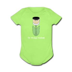Grumpy Tulip (with white lettering for darker shirts) - Short Sleeve Baby Bodysuit