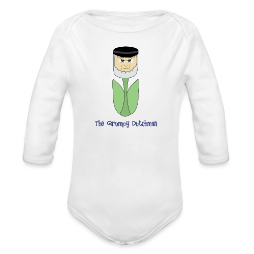 Grumpy Tulip (with blue lettering for lighter shirts) - Organic Long Sleeve Baby Bodysuit