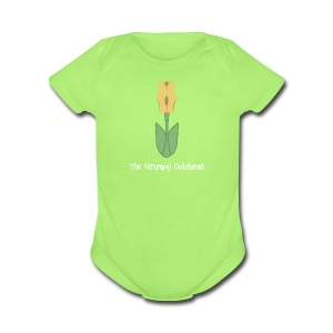 Shoe Tulip (with white lettering for darker shirts) - Short Sleeve Baby Bodysuit