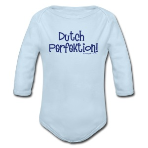 Dutch Perfektion (with blue lettering for lighter shirts) - Long Sleeve Baby Bodysuit