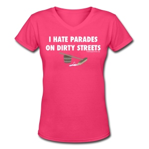 Parades (with white lettering for dark shirts) - Women's V-Neck T-Shirt