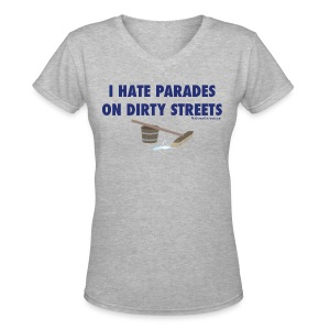 Parades (with blue letters for lighter shirts) - Women's V-Neck T-Shirt