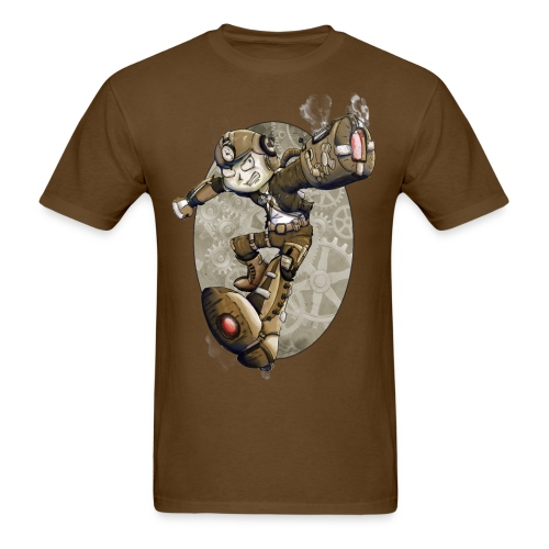 Men's Steampunk Mega Man Brown - Men's T-Shirt