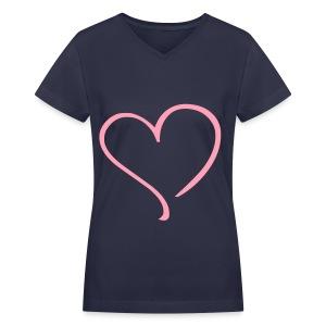 Pink Heart Shirt - Women's V-Neck T-Shirt