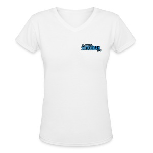 Grumpy Logo - Back (with dark lines for lighter shirts) - Women's V-Neck T-Shirt