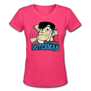 Grumpy Logo - Front (with dark lines for lighter shirts) - Women's V-Neck T-Shirt