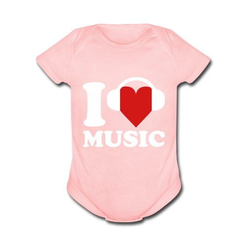 I Love Music Onsie - Organic Short Sleeve Baby Bodysuit