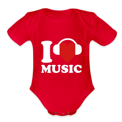 I Love Music Onsie - Organic Short Sleeve Baby Bodysuit