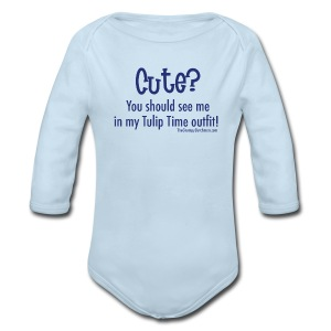 Tulip Time (blue lettering for lighter shirts) - Long Sleeve Baby Bodysuit