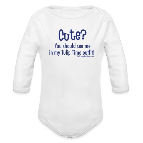 Tulip Time (blue lettering for lighter shirts) - Organic Long Sleeve Baby Bodysuit