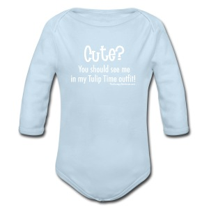 Tulip Time (white lettering for darker shirts) - Long Sleeve Baby Bodysuit