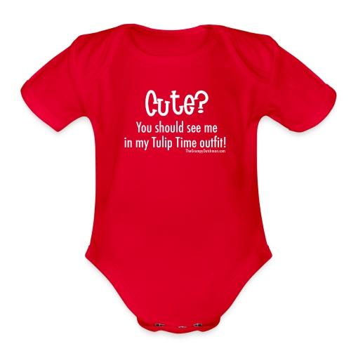 Tulip Time (white lettering for darker shirts) - Organic Short Sleeve Baby Bodysuit