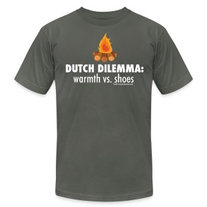 Dutch Dilemma (with white lettering for darker shirts) - Men's T-Shirt by American Apparel